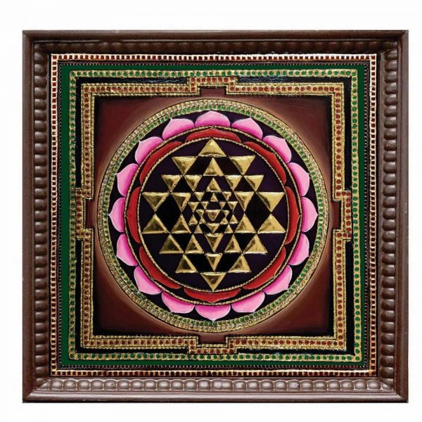 sri yantra tanjore painting with gold foil