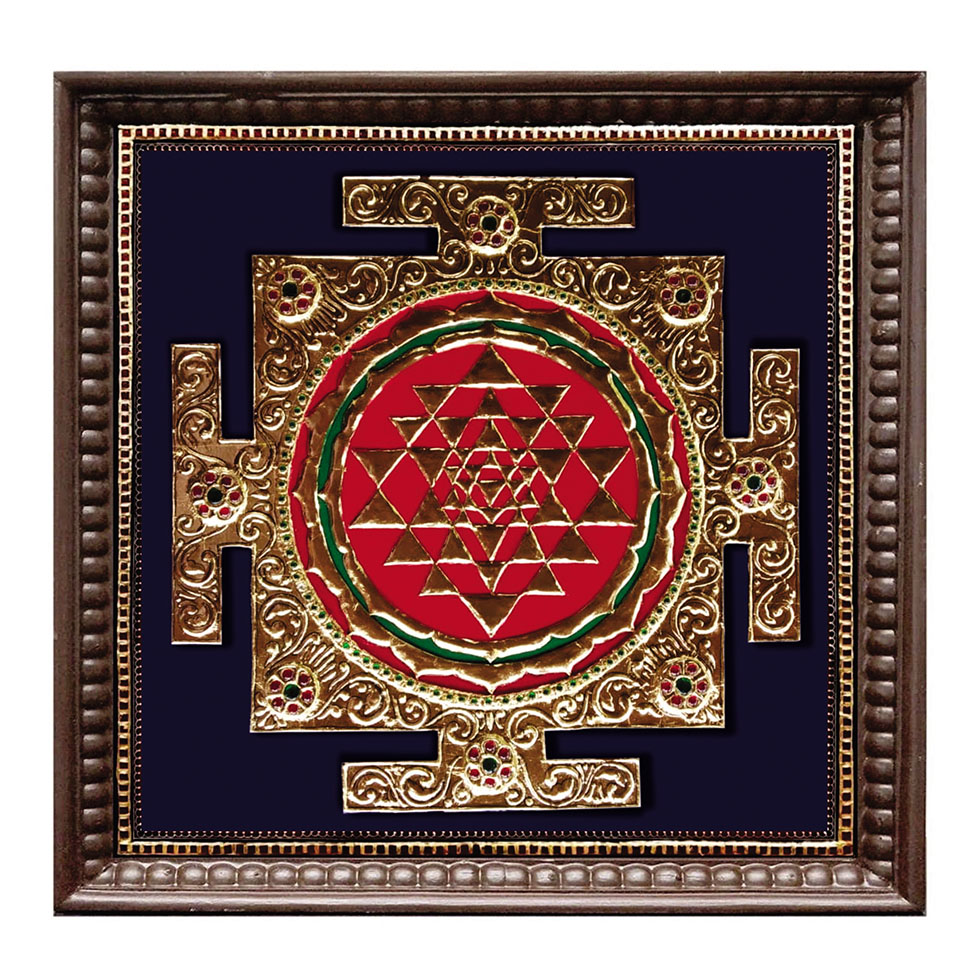 sri Yantra tanjore painting with heavy gold foil